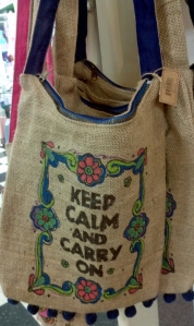 keep calm burlap tote bag